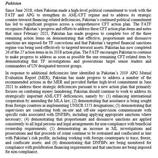 FATF's statement on Pakistan
