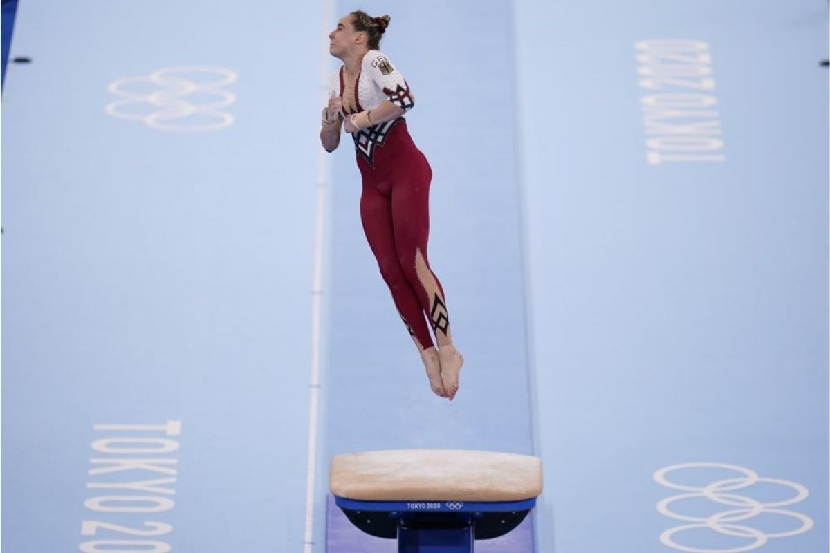 Sarah Voss, of Germany, performs on the vault during the gymnastics qualification