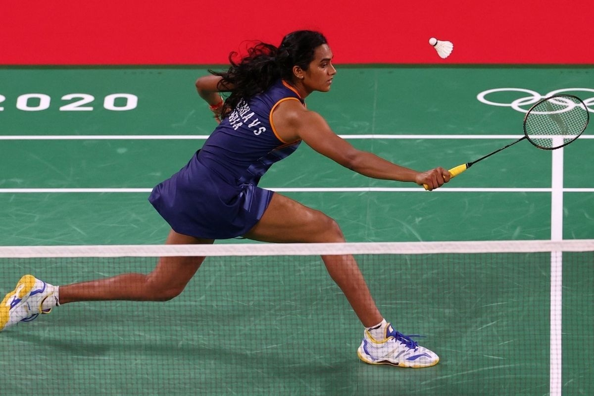 P.V. Sindhu of India in action during the match against Ksenia Polikarpova of Israel.