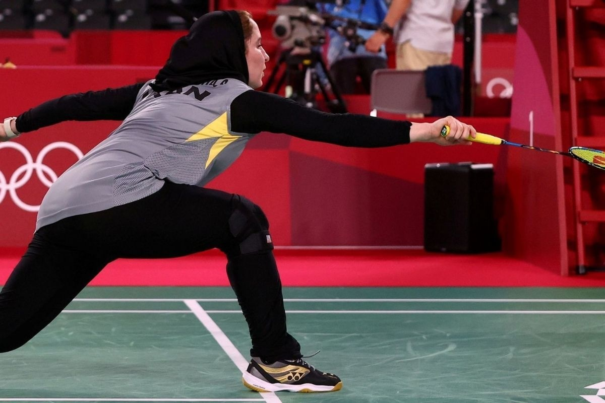 Soraya Aghaeihajiagha of Iran in action during the match against He Bingjiao of China.