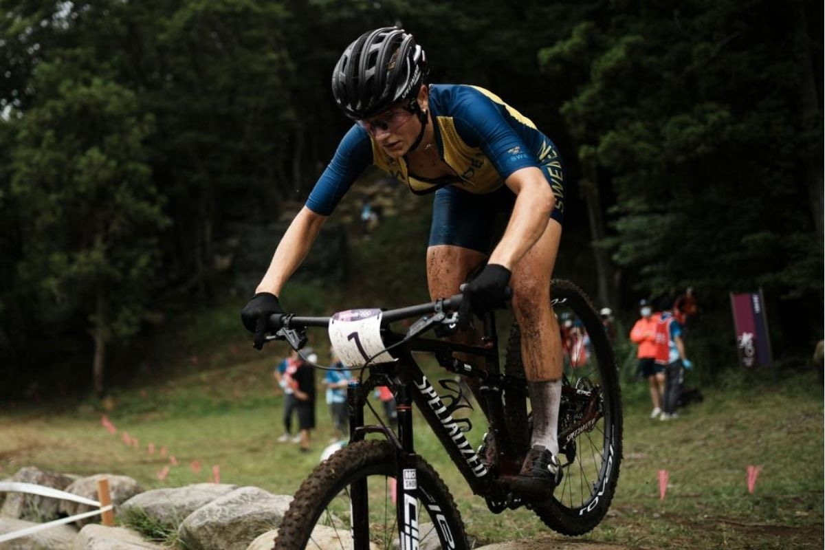 Jenny Rissveds of Sweden competes during the women's cross-country mountain bike competition