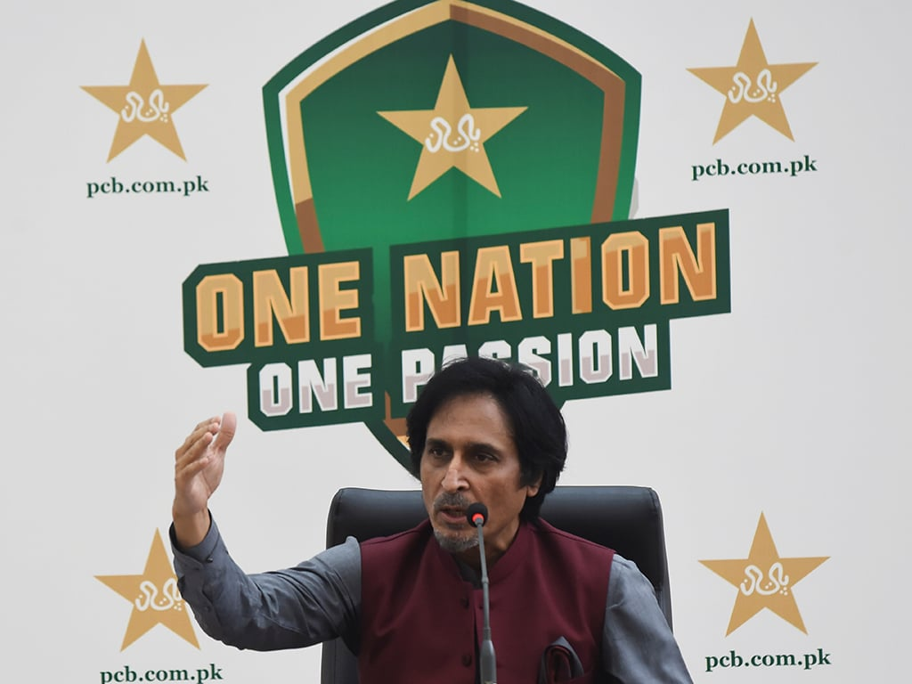 Ramiz Raja, newly elected Chairman of the Pakistan Cricket Board, addresses a news conference in Lahore