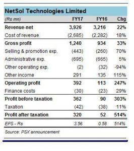 NetSol in FY17