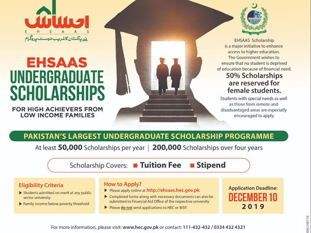 50,000 scholarships to be offered every year under new Ehsaas program: PM