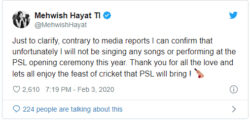 Mehwish Hayat breaks silence over participation in 'PSL 5'