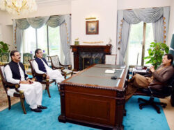 Newly appointed Information Minister Faraz, SAPM Bajwa meet PM